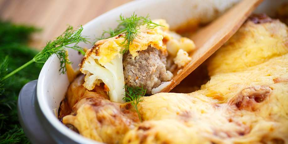Baked Cauliflower with Ground Meat