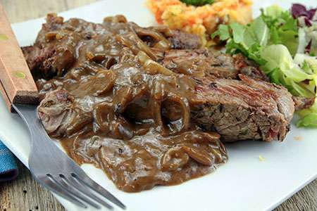 Beef Steak with Shallot Sauce