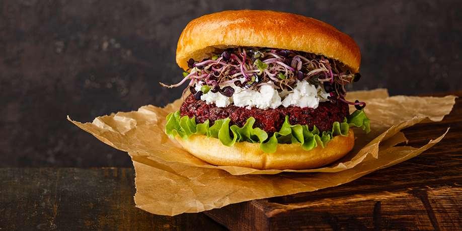 Beet Burger with Champignons