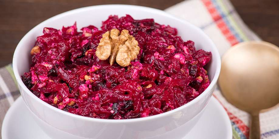 Beetroot Salad with Apple, Prunes and Walnuts