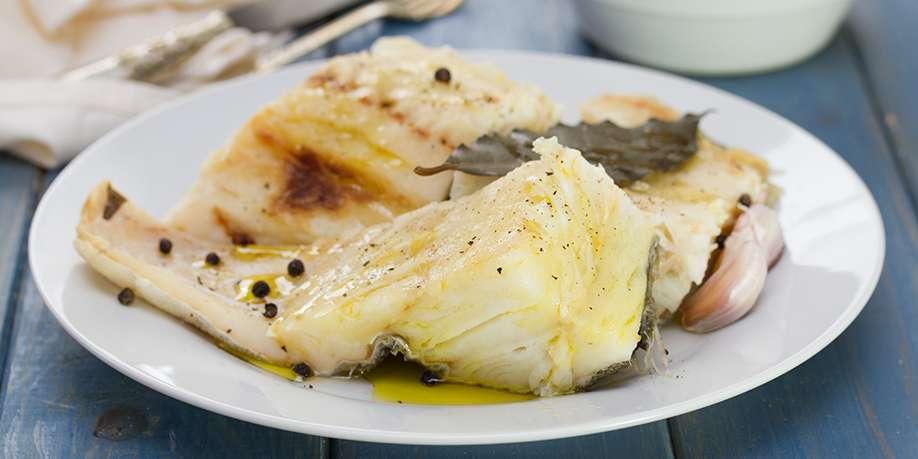 Boiled Cod in Mushroom Sauce