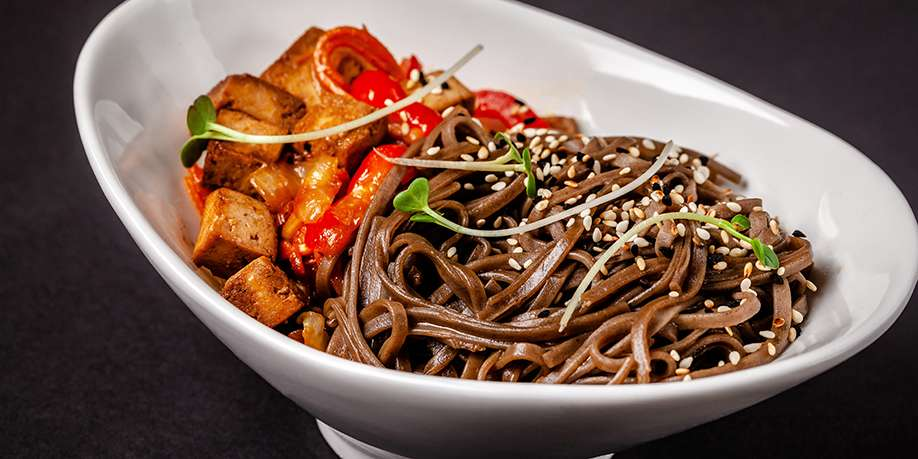 Buckwheat Noodles with Tofu and Eggs