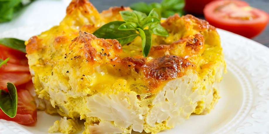 Cauliflower Casserole with Bell Peppers and Onions
