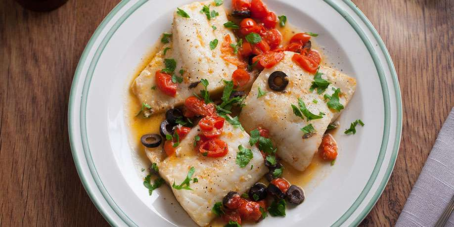 Cod in Tomato and Olive Sauce
