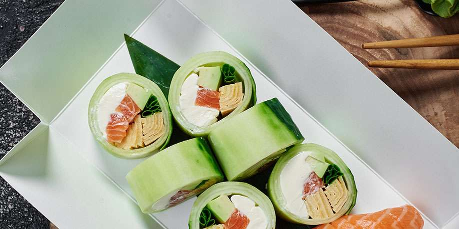 Cucumber Sushi Roll with Salmon and Yellowtail
