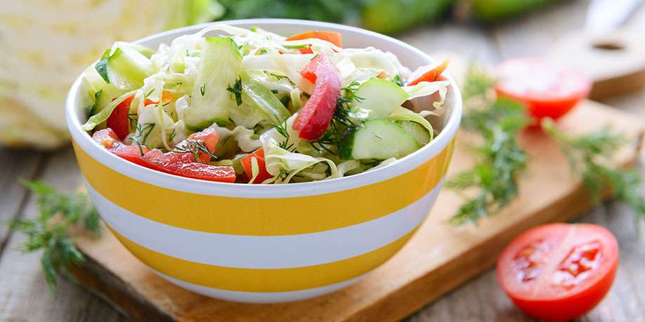 Fresh Cabbage and Tomatoes Salad