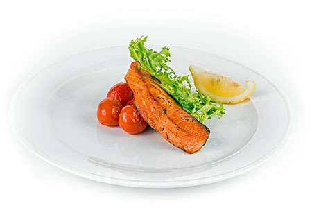 Fried Salmon on a Bed of Baked Tomatoes