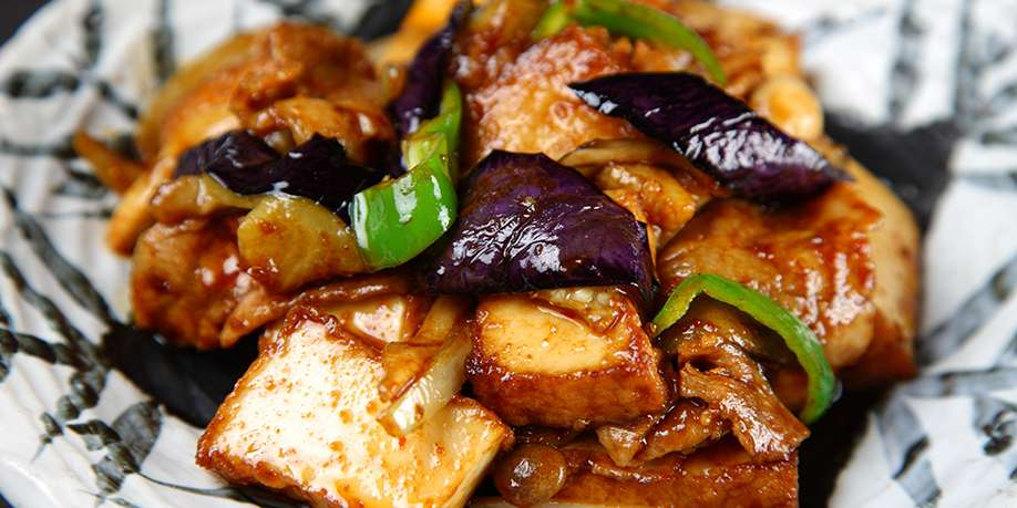 Fried Tofu with Eggplant and Bell Pepper
