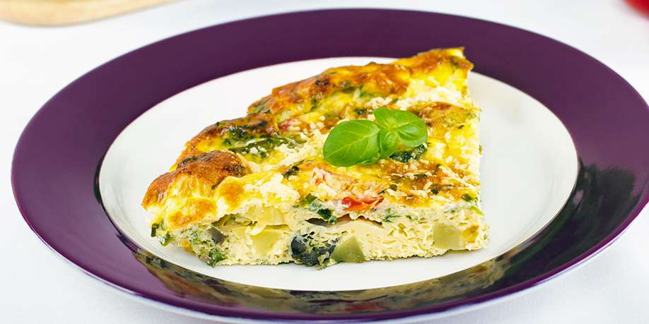 Frittata with Bell Pepper, Basil, and Spinach