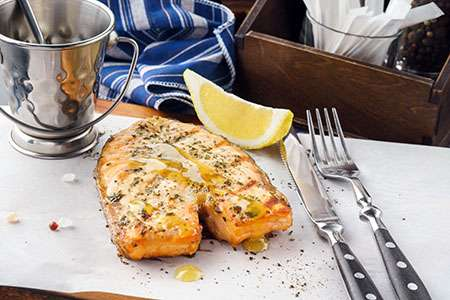 Grilled Salmon in Mustard Sauce