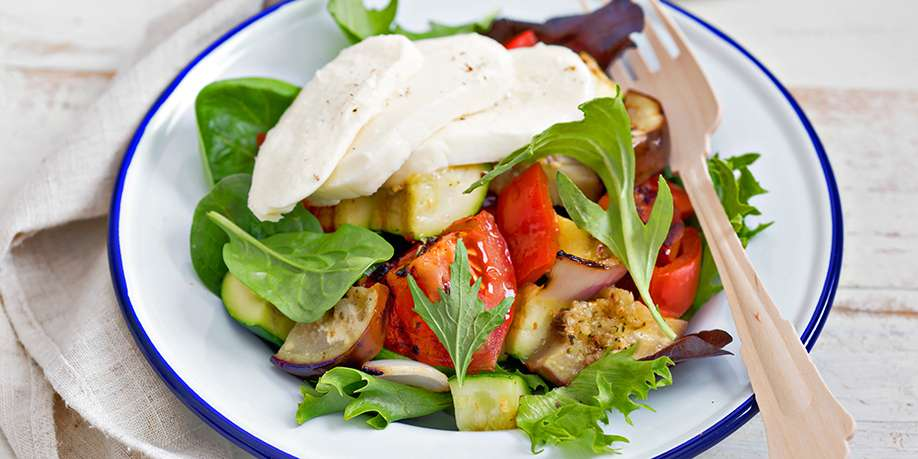 Grilled Vegetables and Cheese Salad