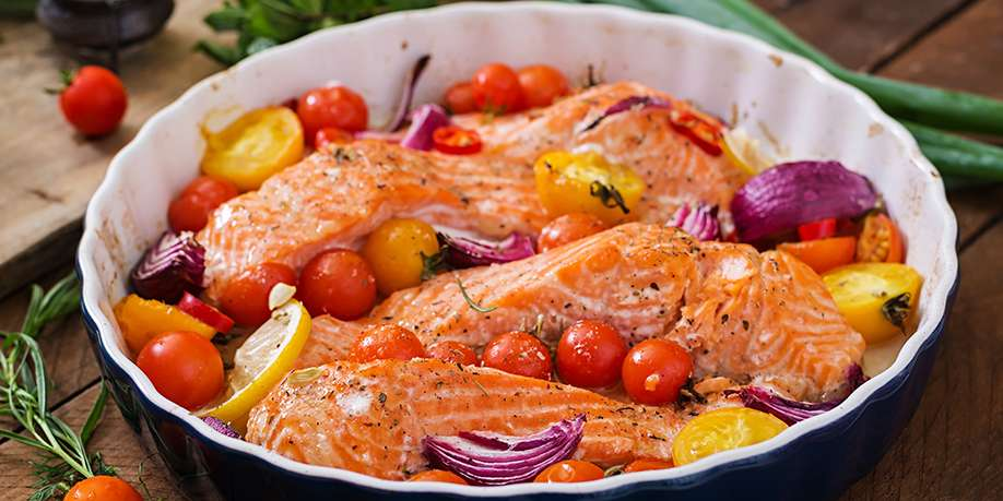Pink Salmon Baked with Onions and Tomatoes