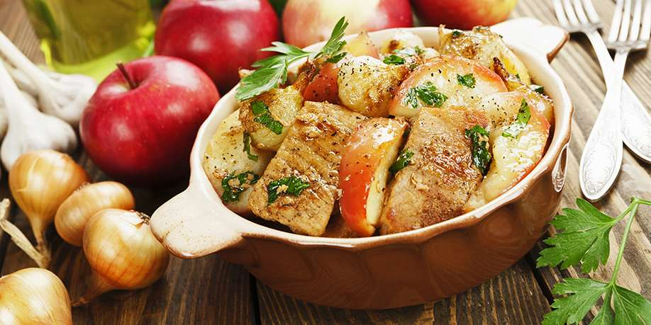 Pork and Turkey Stew with Apples