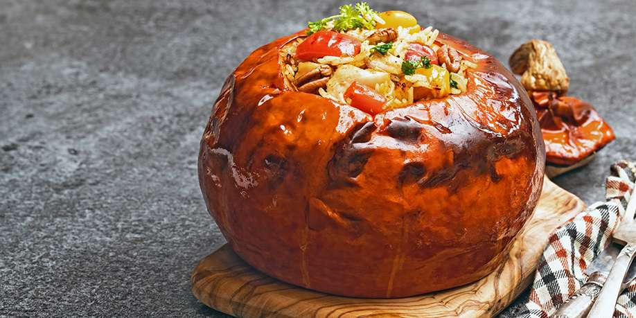 Pumpkin Baked with Rice and Chicken