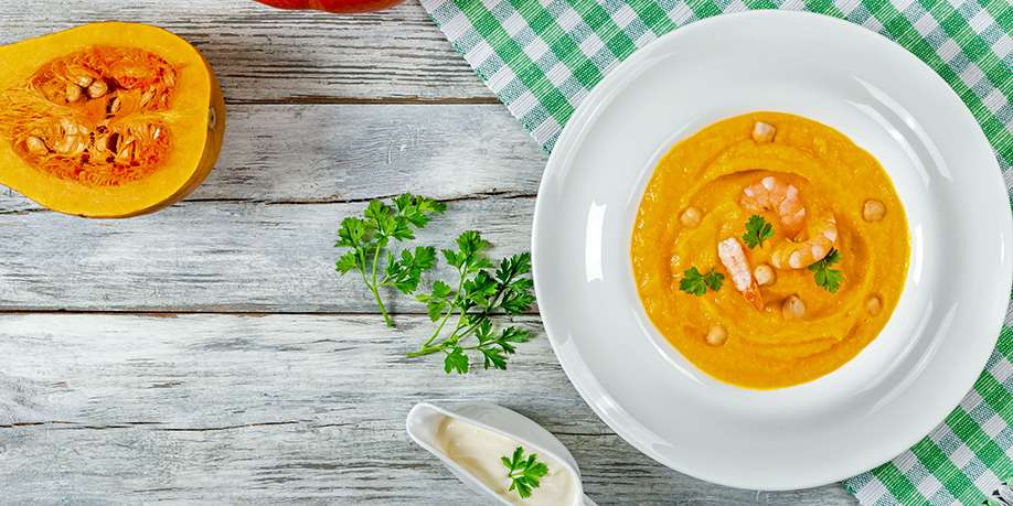 Pumpkin Soup with Chickpeas and Shrimp