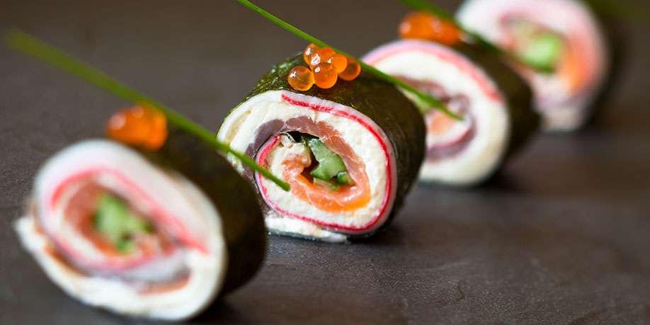 Salmon, Cream cheese, and Guacamole Sushi Roll