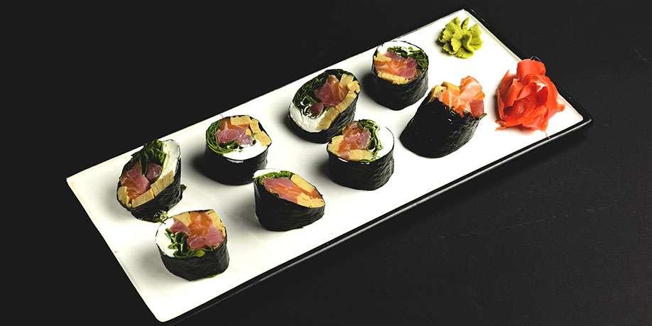 Salmon, Yellowtail and Cream Cheese Sushi Roll
