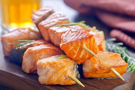 Salmon Kebab with Honey