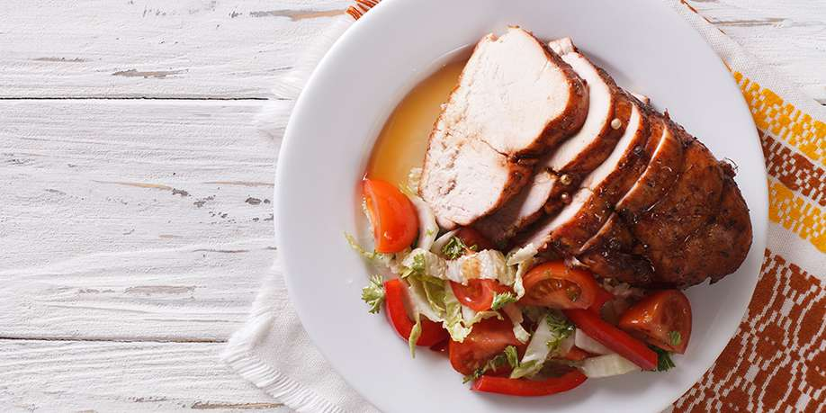 Slow Cooked Turkey Breast with Wine, Onions, and Lemon Juice