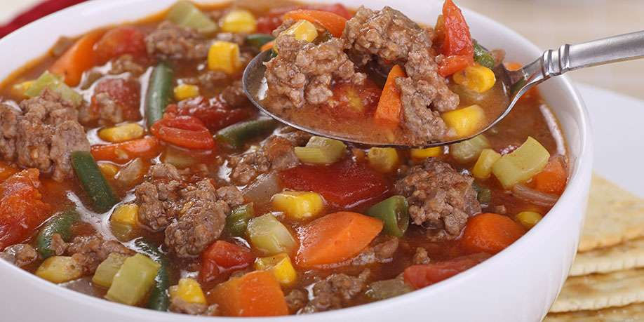 Soup with Beef and Baked Vegetables