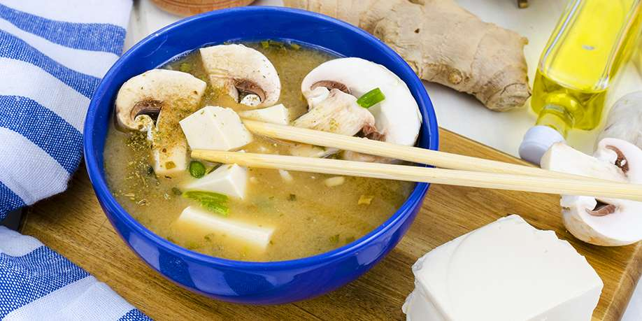 Soup with Tofu and Mushrooms