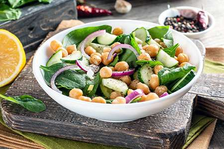 Spinach, Chickpea and Fresh Cucumber Salad