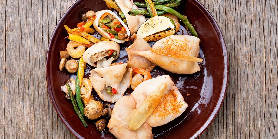 Squid Stuffed with Mushrooms and Vegetables