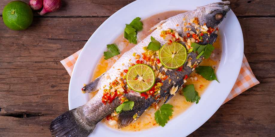 Steamed Seabass with Cauliflower, Carrots and Broccoli