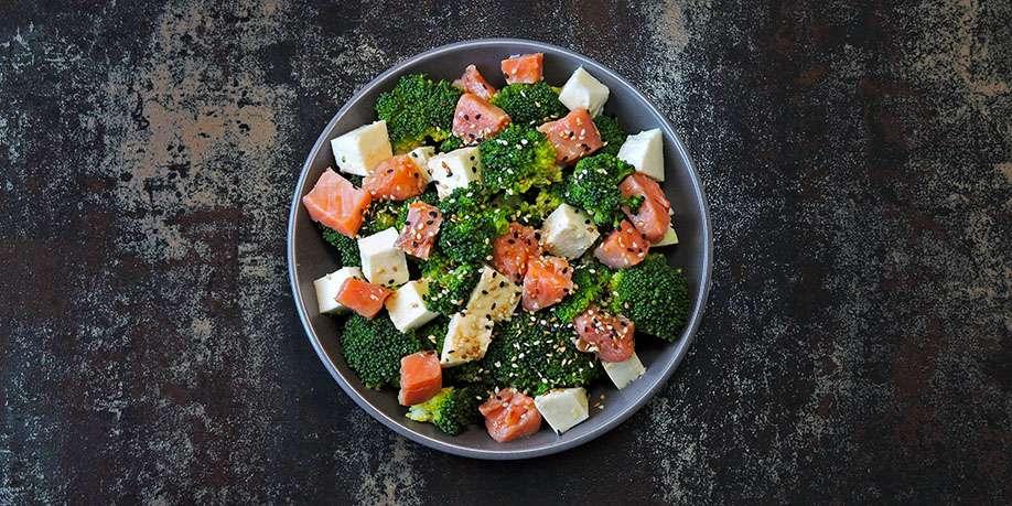 Tofu, Salmon and Broccoli Salad