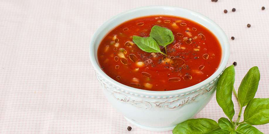 Tomato and Cucumber Soup with Ice