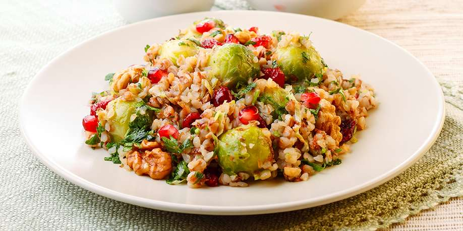 Warm Buckwheat Salad with Bacon, Brussels Sprouts, Leeks and Apples