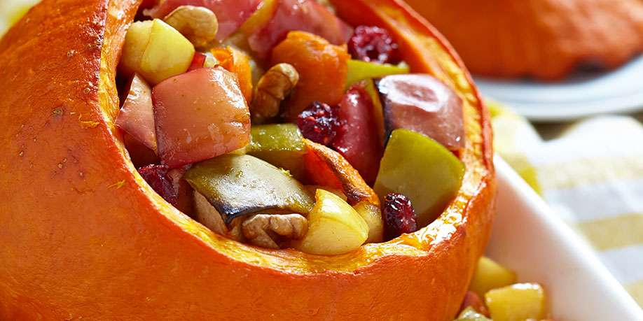 Whole Baked Pumpkin Stuffed with Apples and Honey